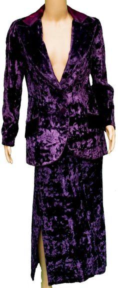 1960s Small Suit Jacket Skirt Set Purple Velvet Velour Royal Crushed Boho Bohemian Witch Hippie Pimp Costume Vampire Funky Disco Winter Mod