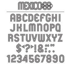 Mexico 68 Olympics typography by Lance Wyman. Brand Identity Design, Corporate Design, Branding Design, Logo Design, Corporate Identity, Type Design, Mexico Olympics, 1968 Olympics, Tokyo Olympics