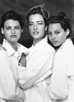 Linda, Tatjana and Christy by Peter Lindbergh - Vogue US 1988