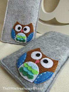 Items similar to Samsung Galaxy felt Sleeve / felt pouch- Owl on Etsy Felt Phone Cases, Felt Case, Felt Pouch, Fabric Crafts, Sewing Crafts, Sewing Projects, Owl Crafts, Felt Diy, Felt Fabric