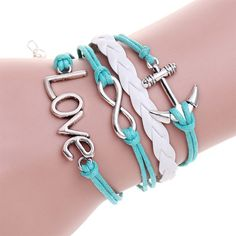 Mens Jewelry Leather bracelet pulseiras masculinas Imitation heart love Bracelet For Women Owl Wing pulsera anchor bracelet