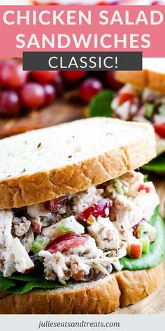 Chicken Salad is a classic sandwich filling that can always be served on crackers too. It's loaded with flavor from chicken. apples, grapes, nuts and tossed in a creamy dressing. Serve it for lunch, dinner at potlucks, BBQs and more! #sandwich #recipe Homemade Chicken Salads, Chicken Salad Ingredients, Chicken Salad Recipes, Dagwood Sandwich, Baked Cinnamon Chips, Chicken Salad With Grapes, Cold Sandwiches, Cooking Recipes, Healthy Recipes