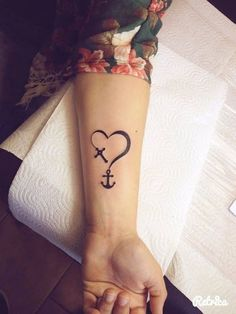 Anchor with cross and heart tattoo on wrist is awesome design