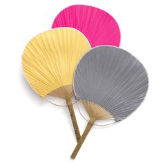 "Paddle Fan, $1.19    These elegant paper paddle fans are useful and beautiful at the same time. Twenty stunning colors that span the brightest rainbows range from teal to turquoise to chocolate to green-as-grass. If you know your guests are going to spend some time outdoors in warmer months, or for that matter, inside of a warm venue, they'll love having these handy dandy paddle fans. Dimensions are approximately 15"" l x 9 1/2""."