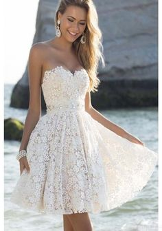 Elegant Sweetheart Knee Length Short White Homecoming Prom Party Dresses,Sweet 16 Cocktail Dress,Homecoming Dress,ED345