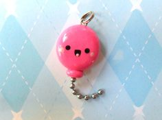 Cute Pink Balloon Charm Polymer Clay Charm by JollyCharms on Etsy, $6.00
