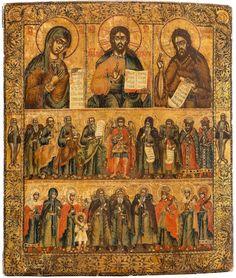 ДЕИСУСА и избранных святых российских, 2-я половина 18-го века темпера на деревянной панели.