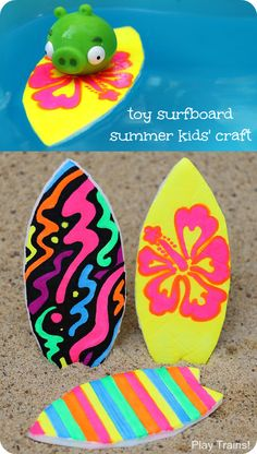 Surfboard Craft for Kids A fun summer surfboard craft for kids that lets their favorite small toys go surfing! Perfect activity for water play, pool parties, or surfing-themed birthday parties.A fun summer surfboard craft for kids that lets their favorite Beach Crafts For Kids, Summer Crafts For Kids, Summer Kids, Toddler Crafts, Craft Kids, Hawaiian Kids Crafts, Kid Crafts, Luau Crafts Preschool, Craft Projects
