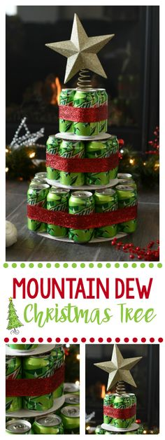 Mountain Dew Gift for Christmas Supplies Needed: 29 cans of Mt. Dew (or soda of your choice) Red Ribbon Cardboard to place each layer on (we used cake boards 6, 8, and 12 inches) Star Hot Glue