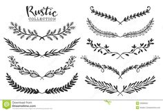 Vintage Set Of Hand Drawn Rustic Laurels. Floral Vector Graphic. - Download…