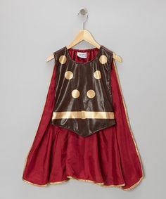 Take a look at this Brown & Burgundy Gladiator Smock Cape by Story Book Wishes on #zulily today!