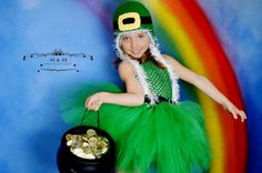 WHOLE OUTFIT Emerald Green Lucky Lassy Leprechaun Halloween Costume Set with Handmade Crochet Hat and BIG Fluffy Tutu dress with Black Belt GOLDEN!!! by HandpickedHandmade, starting at $25.00 for a WHOLE SET!! Wow!!!