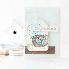 Nature inspired baby card. With Pinterest inspiration at the forefront of my mind I stamped and watercolored a little nest tag as a feel good focal point.