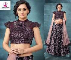 This elegant wine color lehenga made from Jacquard velvet fabric is going to make you the star of the party. The sequin blouse with net dupatta adds charismatic charm to this attire, It has handwork and sequin embroidery work to add the party touch to it.  It can be stitched in all sizes small medium large and extra large. Minimum 28 inches to maximum 44 inches chest size. Blue Lehenga, Lehenga Choli, Sequin Embroidery, Rose Design, Sequins, Velvet, Touch, Wine, Crop Tops