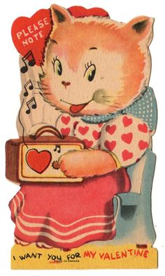 GIRL KITTY CAT LISTENS TO OLD TUBE TYPE PORTABLE RADIO / VINTAGE VALENTINE CARD
