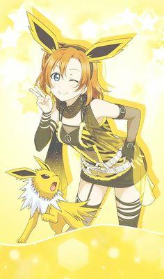 Jolteon gijinka Eeveelutions X LoveLive! Pokemon Manga, Pokemon Human Form, Anime Neko, Kawaii Anime, Pokemon Cosplay, Digimon, Fotos Do Pokemon, Equipe Pokemon, Anime Outfits