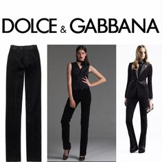 """DOLCE & GABBANA """"smoking"""" velvet tuxedo style pant Straight leg 31.5"""" inseam (with 2"""" give in the cuff  so if you want to get the hem taken out it can reach 33.5"""" inseam) - these are perfect condition in a size """"40"""" but I would definitely recommend being about a 0 in waist Dolce & Gabbana Pants"""