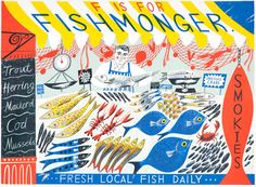 """Emily Suttons' """"F is for Fishmonger"""" screen print - part of her alphabet series http://www.stjudesprints.co.uk/collections/emily-sutton-prints"""