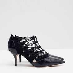 Image 2 of HIGH HEEL LEATHER SHOES WITH STRAPS from Zara