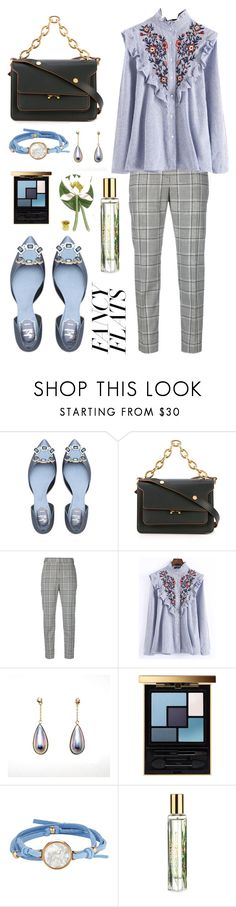 """""""Water Lily"""" by tinakriss ❤ liked on Polyvore featuring Marni, Alexander Wang, WithChic, Yves Saint Laurent, ASHA, Estée Lauder and chicflats"""