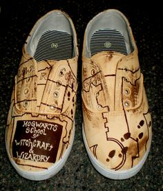 Harry Potter Handpainted Shoes by cactusSoup on Etsy, $75.00
