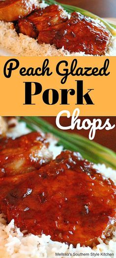 These sweet and spicy Peach Glazed Pork Chops are perfection served over rice as a tasty family dinner entree as well as casual entertaining. Peach Pork Chops, Glazed Pork Chops, Dinner Entrees, Dinner Recipes, Dinner Ideas, Peach Glaze Recipes, Chops Recipe, Pork Chop Recipes, Clean Eating Snacks