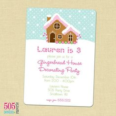gingerbread house invites   ... Gingerbread House Invitation - Little Girl Gingerbread House Party