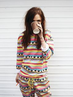 30 Cute Outfits to Wear with Pajamas/PJs to Look Gorgeous Mode Style, Style Me, Pijamas Women, Streetwear, Cute Pjs, Ethnic Print, Navajo Print, Outfit Trends, Outfit Ideas