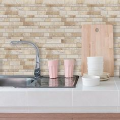 Neutral Long Stone Sticktiles Peel Stick Backsplashes