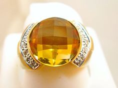 18K-SOLID-GOLD-6-CT-CITRINE-DIAMOND-RING-NEW-9-5-grm
