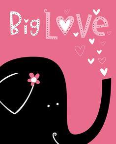 Animal Series- Big Love Elephant Pink by elissahudson etsy shop