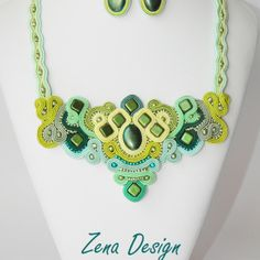 Emerald green soutache necklace and earrings