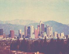 "Los Angeles photograph ""the Big City"". downtown skyline California, urban cityscape architecture buildings mountains, i love LA, unisex 8x10"