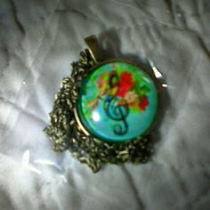Pretty Music Note Flowers Cabochon Glass Pendant Bronze backing and Chain! Makes a cute gift! Jewelry Necklaces