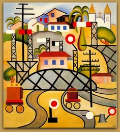 """Estrada de Ferro Central do Brasil"" c. 1924 Tarsila do Amaral"