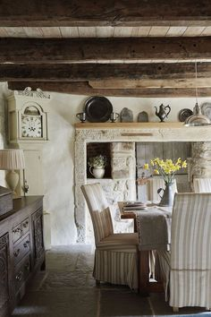 There's Charm Galore in this English Stone Cottage - Linda Merrill - Tudor stone cottage bastle photography Brent Darby dining room charming stone cottage - Farmhouse Side Table, French Farmhouse, Farmhouse Design, French Cottage, Farmhouse Sinks, Farmhouse Style, English Country Decor, French Country Decorating, English Country Cottages