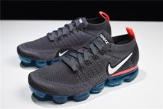 Nike Air VaporMax Flyknit 2.0 Thunder Grey/White-Bright Crimson Free Shipping Nike Basketball Shoes, Nike Shoes, Grey Nikes, Nike Slippers, Nike Air Vapormax, Fashion Outfits, Men's Outfits, Casual Outfits, Sneaker Games