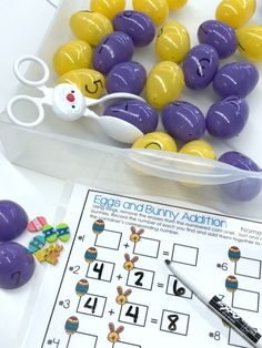 Student will select an egg using the tongs, then open the egg and sort the erasers into two sets.  From there, they will count up the erasers and will write an equation and answer next to the corresponding number.
