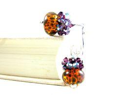 Purple & Brown Earrings Purple Crystal by GlassRiverJewelry, $37.00