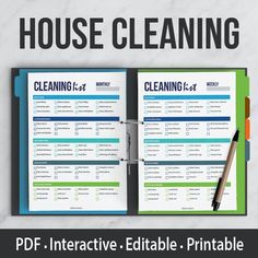 House Cleaning Kit Interactive | Editable PDF | Printable | Organizer