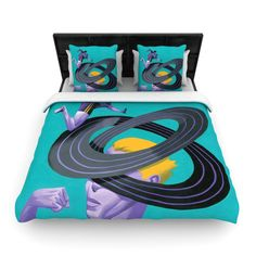 "Thomas Fuchs ""Runner's High"" Teal Purple Woven Duvet Cover"