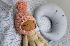 Handmade doll. Fabric doll. Crochet bonnet. Cotton and linen doll. Hand embroidery. Sleeping doll. Dreamy doll.