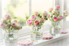 Bonne Maman jam jar as a vase My Flower, Fresh Flowers, Beautiful Flowers, Flower Vases, Spring Flowers, Shabby Flowers, Pastel Flowers, Deco Cafe, Burglar Bars