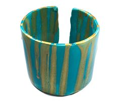 Turquoise and Gold Cuff
