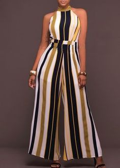 Buy Chicloth Women Striped Wide Leg Jumpsuit Halter Neck Sleeveless High Waist Romper Bodysuit,Cheap Womens Casual Pants,Cheap Jumpsuits and Rompers. Long Jumpsuits, Jumpsuits For Women, African Fashion Dresses, African Dress, Fashion Mode, Fashion Outfits, Jumpsuit Elegante, Vetement Fashion, Casual Jumpsuit