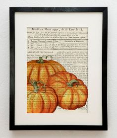 pumpkins on vintage paper