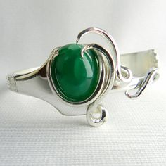 Upcycled Silverware Jewelry Green Onyx Silver Fork Bracelet OOAK via Etsy