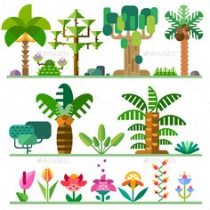 Tropical Plants Set (Vector EPS, CS, banana, baobableaves, branches, cartoon, coconuts, element, flat, flora, flowers, forest, grass, illustration, jungle, landscape, nature, oak, palm tree, petals, plants, set, shrubs, sprite, stones, summer, trees, tropical, vector)
