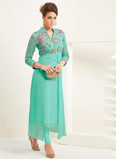 Georgette Embroidered  Party Club Cocktail Work Dress Top Tunic Shirt Kurti #Zafirah