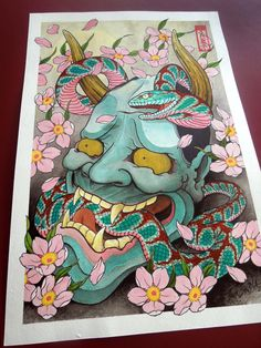 Hannya and Serpent under cherry Art by Paulo Barbosa - Ariuken Art on Facebook